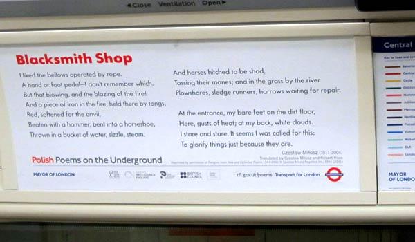 Polish poetry on the Underground, London