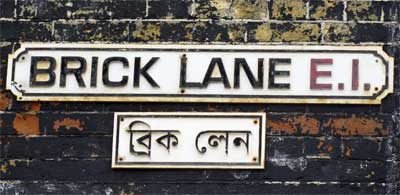 Brick Lane Bengali street sign