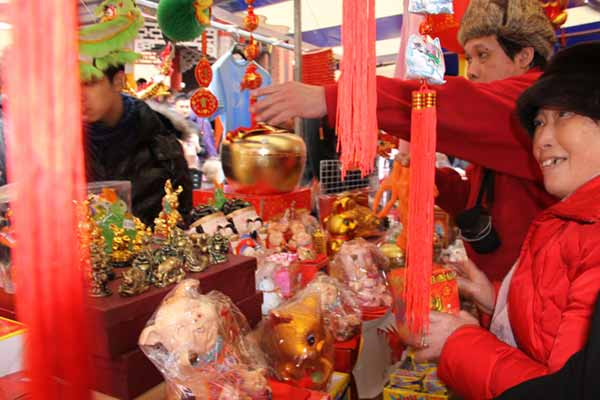 Red stall at Chinese New Year in London