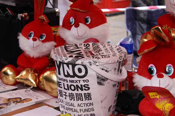red toy rabbits during celebrations of Chinese Year of the Rabbit in London