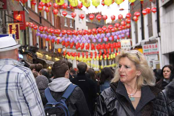 London street with Chinese New Year lanterns