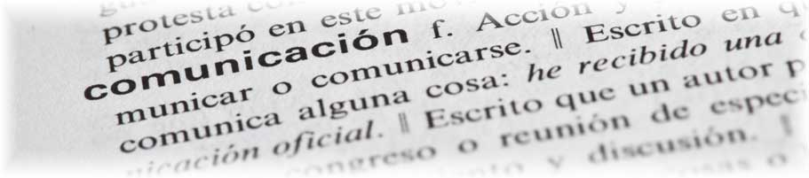Dictionary shows Spanish translation of communication