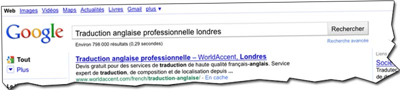 Multilingual SEO results in Google SERPs