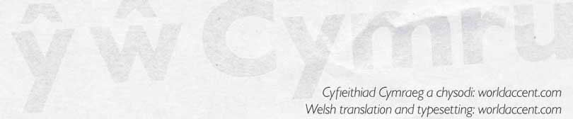 Welsh translation and typesetting by WorldAccent
